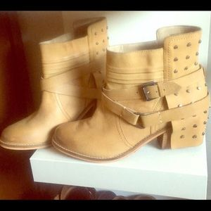 Naughty Monkey tan leather studded boots